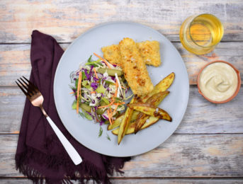 Crumbed market fish with chips and slaw
