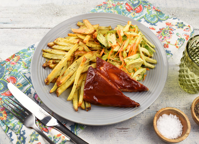 Easy-BBQ-Tofu-with-apple-slaw-and-fries
